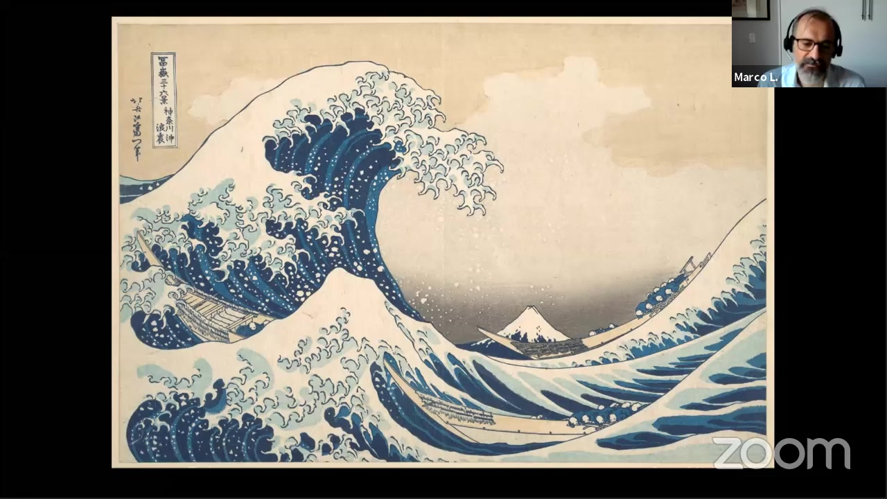 Image of a Zoom meeting featuring an image of The Great Wave off Kanagawa by the Japanese artist Katsushika Hokusai