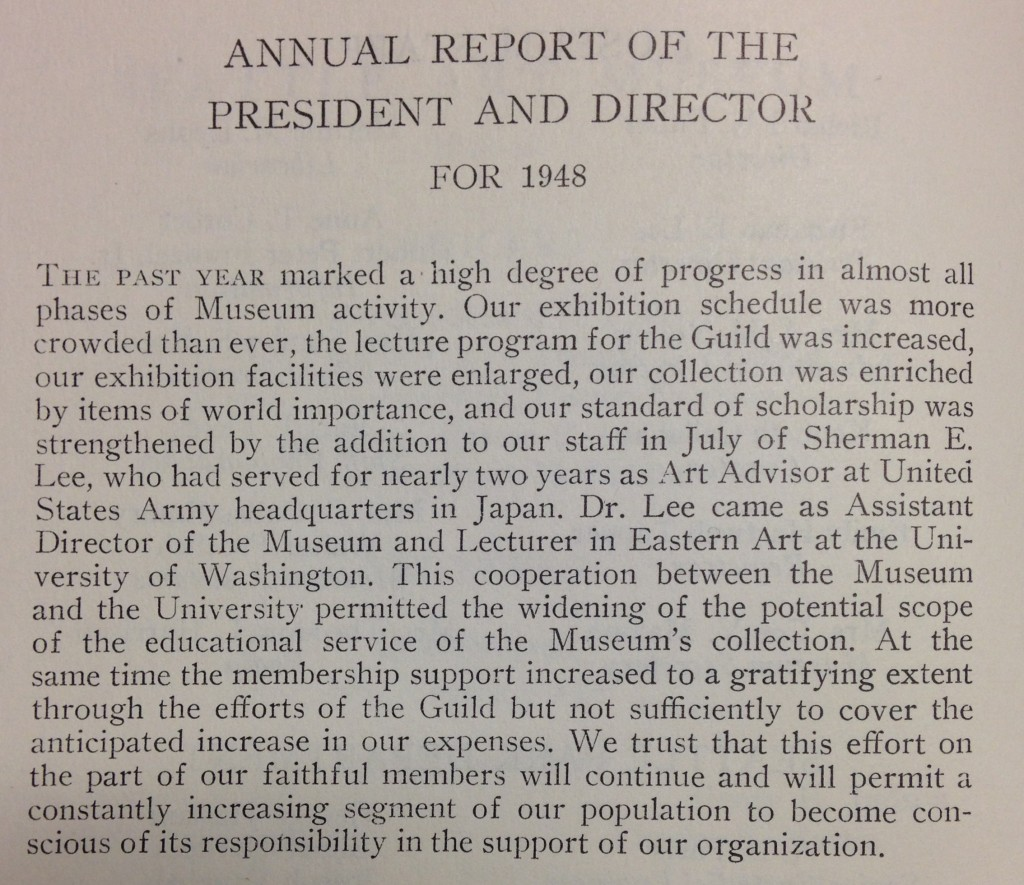 Seattle Art Museum Annual Report, 1948