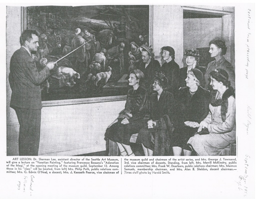 Newspaper clipping from SAM archives, showing Sherman Lee with museum docents, 1950