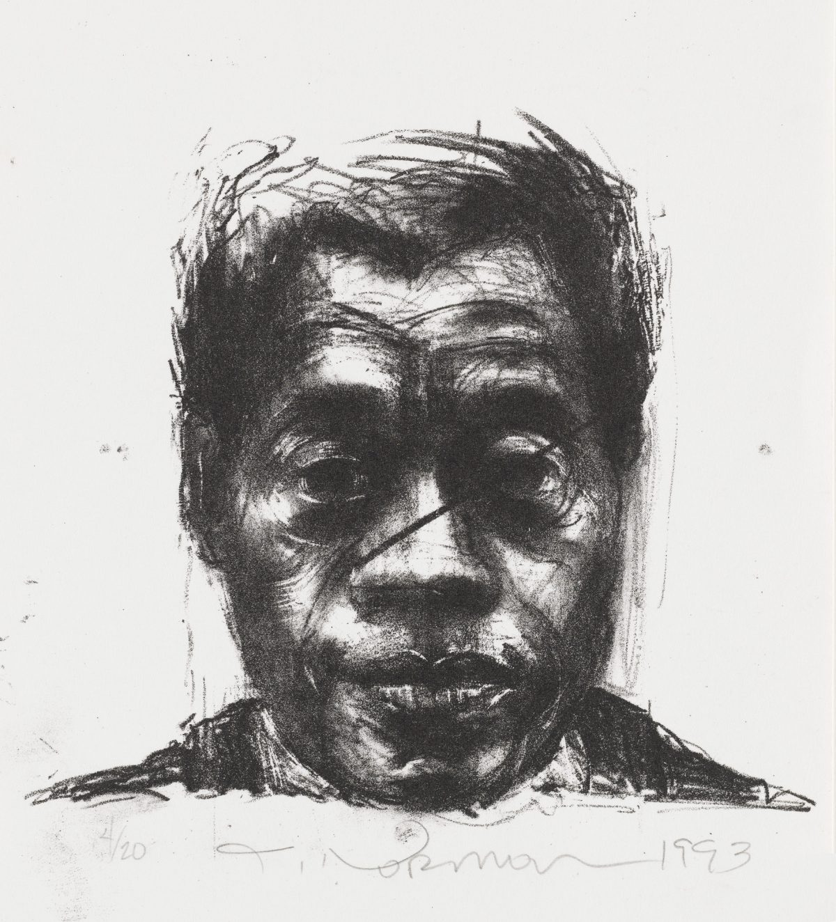 Image of a shaded and richly textured portrait of James Baldwin's shoulders and face