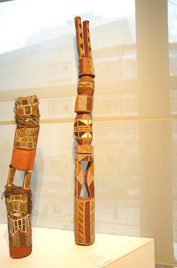 Pukamani pole, 1999, Leon Puruntatamari, Australian Aboriginal, Tiwi Islands, Melville Island, born 1949, natural pigments with fixative on ironwood, height 104 5/16in., Partial and promised gift of Margaret Levi and Robert Kaplan, in honor of the 75th Anniversary of the Seattle Art Museum, 2005.155, © Leon Puruntatamari. Currently on view in the Australian Aboriginal art gallery, Seattle Art Museum.