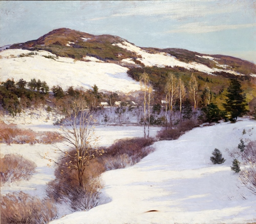 The Cornish Hills, 1911, Willard Metcalf, American, 1858 – 1925, oil on canvas, 35 x 40in., Partial and promised gift from a private collection, 2005.160. On view in American Art Masterworks, American art galleries, third floor, Seattle Art Museum, starting this Saturday, October 11.