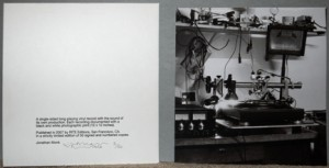The Sound of Music ( A record with the sound of its own making*), 2007, Jonathan Monk (English, born 1969), record, silkscreen print on paper, and black and white photograph, each element: 12 x 12 in., Gift of Virginia and Bagley Wright, 2008.8. © Jonathan Monk. Not currently on view.