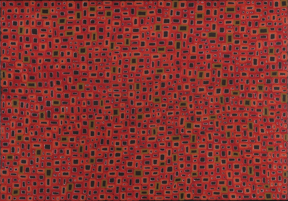 "Awelye ""Women's Ceremony"", 2006, Abie Loy Kamerre (Australian Aboriginal, Anmatyerr people, Utopia, Central Desert, Northern Territory, born 1972), acrylic on linen, 40 3/16 x 59 13/16 in., Gift of Margaret Levi and Robert Kaplan in honor of Mimi Gardner Gates, 2009.19, © Abie Loy Kamerre. Currently on view in the Contemporary and Australian Art gallery, third floor, SAM downtown."