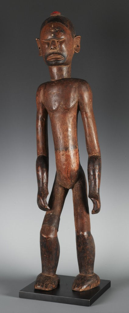 Male standing figure, 20th century, Tanzanian, Nyamwezi/Sukuma culture, wood, natural pigments, cloth, height: 26 in., Gift of Dr. Oliver E. and Pamela F. Cobb, in honor of Mark Groudine, 2012.28.21, Photo: Elizabeth Mann. On view beginning 24 May, African art galleries, Seattle Art Museum.