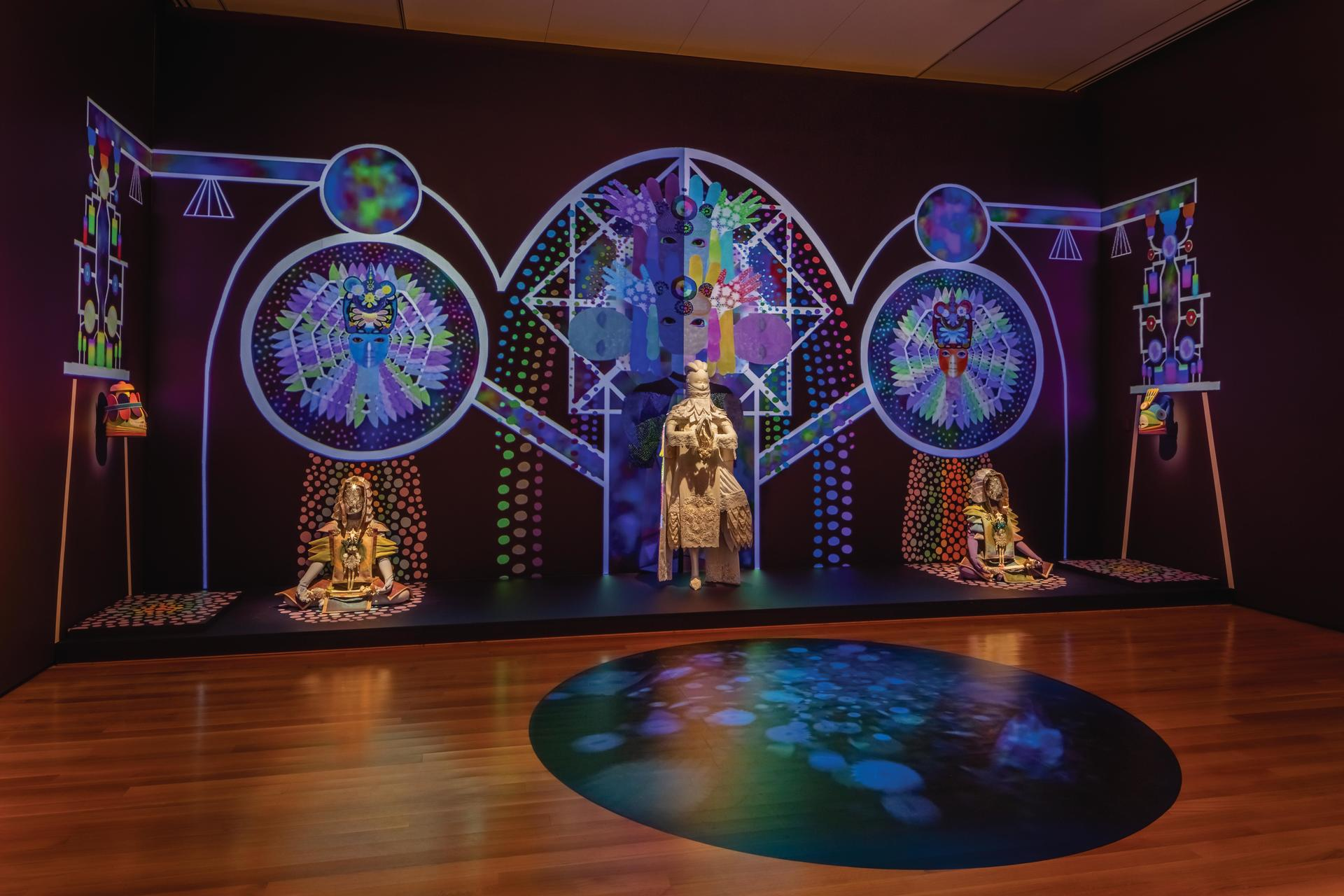 """An installation view of three Empathics in """"Lessons from the Institute of Empathy."""""""