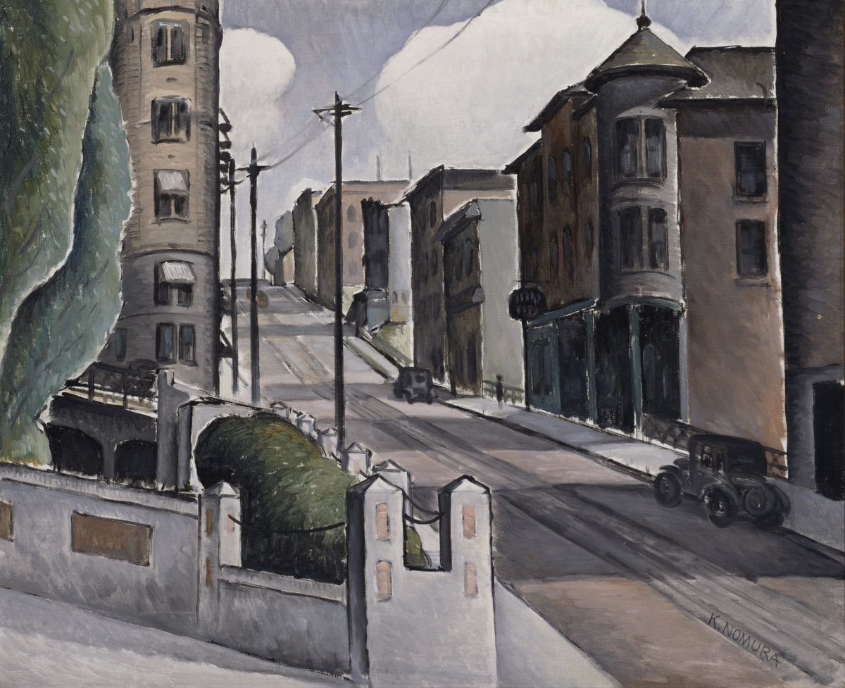 Painting of a early city street leading uphill, complete with early 20th-century cars and buildings