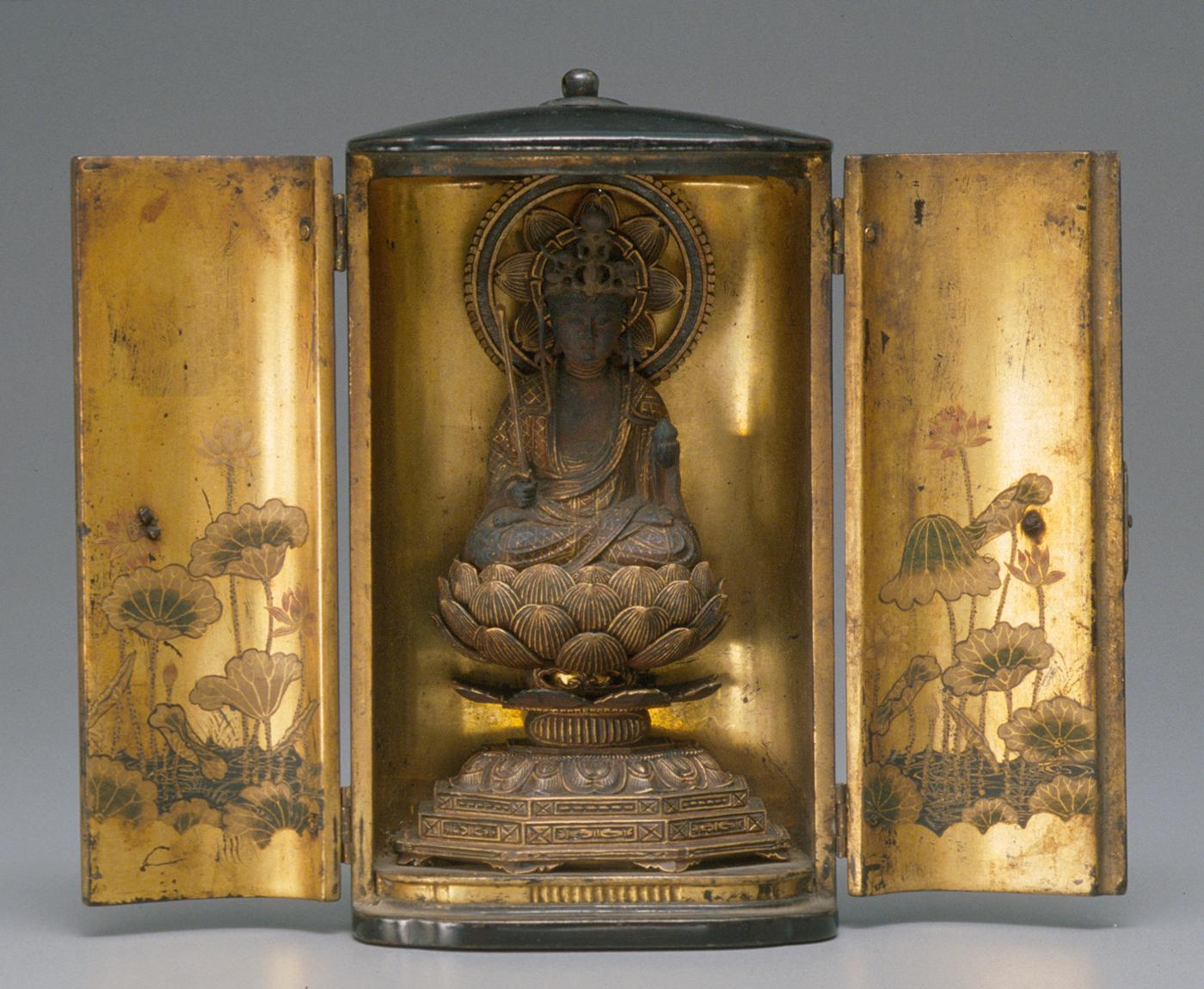 Portable shrine: Bodhisattva Kokuzo, 19th century, Japanese (Edo period, 1603-1868), wood with gold and black lacquer, polychrome, and metal fittings, Eugene Fuller Memorial Collection, 34.183. On view in Going for Gold, third floor, SAM downtown, through Sunday, 8 December.