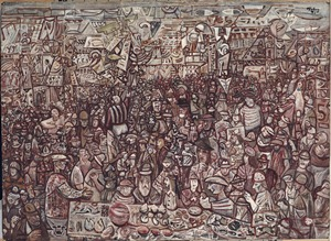 E Pluribus Unum, 1942, Mark Tobey, American, 1890 – 1976, opaque watercolor on paper mounted on paperboard, 19 3/4 x 27 1/4 in., Gift of Mrs. Thomas D. Stimson, 43.33, © Mark Tobey / Seattle Art Museum. Now on view in Modernism in the Pacific Northwest: The Mythic and the Mystical, fourth floor, Seattle Art Museum.