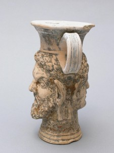 Kantharos with Satyr and Maenad Heads, ca. 1st century, Roman England, ceramic, 7 1/4 x 6 in., Eugene Fuller Memorial Collection, 47.108. Currently on view in the Ancient Mediterranean and Islamic Art galleries, 4th floor, Seattle Art Museum.