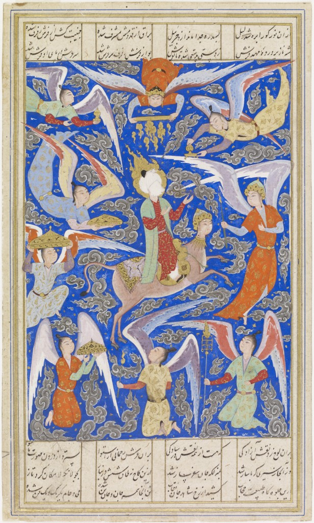 Muhammad's Ascent to Heaven (Miraj), 16th century, Persian (modern Iran), Safavid period (1501-1722), opaque watercolor and gold on paper, 9 3/16 x 5 3/8 in., Eugene Fuller Memorial Collection, 47.96. Not currently on view, but accessible online (link below).