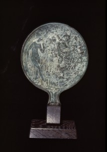Mirror with scene of the Judgment of Paris, 4th-3rd century B.C., Etruscan, `bronze, 10 3/8 x 7 in., Eugene Fuller Memorial Collection, 48.36. Currently on view the Ancient Mediterranean and Islamic Art galleries, 4th floor, Seattle Art Museum.