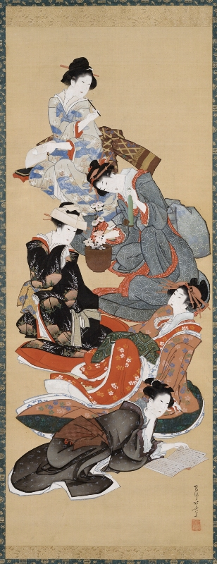 Five Beautiful Women, 1804-18, Katsushika Hokusai, Japanese, 1760-1849, hanging scroll; ink and color on silk, 71 x 18 1/4 in., Margaret E. Fuller Purchase Fund, 56.246. Currently on view in LUMINOUS, special exhibition galleries, fourth floor, SAM downtown.