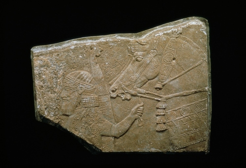 Relief fragment with warrior and horse, 668-627 B.C., Neo-Assyrian (ca. 1045-610 B.C.; modern Iraq), Nineveh, Southwest Palace, Room XXXIII, stone, overall 17 1/4 x 22 1/4 in., Eugene Fuller Memorial Collection, 57.54. Currently on view in the Ancient Mediterranean and Islamic art galleries, Seattle Art Museum.