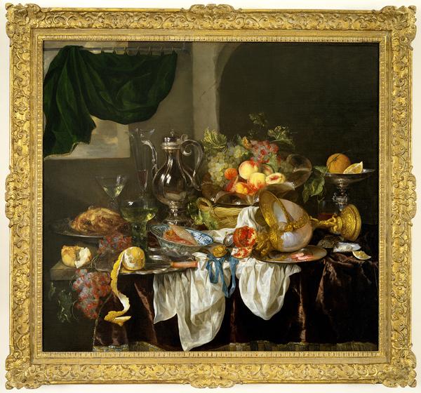 """Banquet Still Life"", ca. 1653–55, Abraham van Beyeren, Dutch, ca. 1620/21–1690, oil on canvas, 42 1/8 x 45 1/2 in. (107 x 115.5 cm), Seattle Art Museum, Samuel H. Kress Collection, 61.146, Photo: Eduardo Calderón"