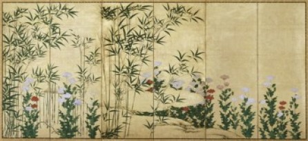 Bamboo and Poppies, early 17th century, Kanō Shigenobu (Japanese, active ca. 1616-1644), pair of six-panel screens; ink, color and gold on paper, 62 1/8 x 140 1/4 in., Margaret E. Fuller Purchase Fund, 61.79.1-2. Currently on view in LUMINOUS: The Art of Asia, special exhibition galleries, fourth floor, SAM downtown.