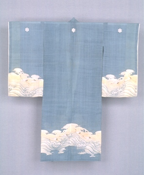 Child's ceremonial kimono, late 19th century, Japanese, Meiji period, bast fiber (asa) cloth with freehand paste-resist decoration (tsutsugaki) and handpainted pigments and ink decoration, 45 x 40 in., Gift of Virginia and Bagley Wright, 89.103. On view starting next week, Seattle Asian Art Museum, Volunteer Park.