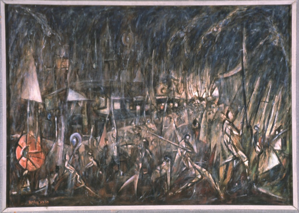 Battle of the Spirits in the Piazza Navona, 1953-54, Windsor Utley, American, 1920-1989, oil on Masonite, image 36 x 52 in., Gift of the artist, by exchange, 89.8, © Windsor Utley