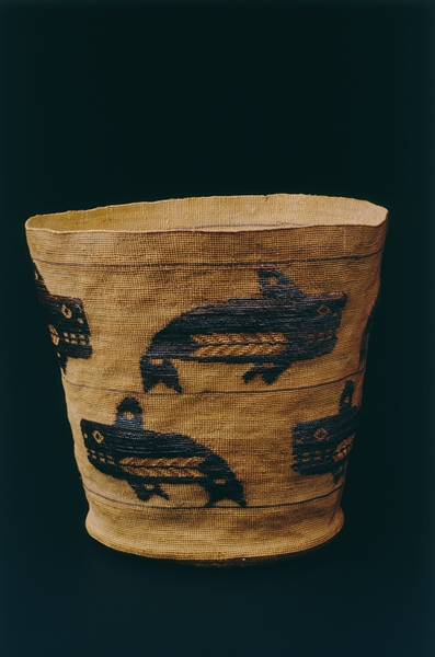 Basket with Orca whale design, ca. 1910, Tlingit, spruce root, maidenhair fern stem, grass, and dyes (twining), 8 1/2 x 10 in., Gift of John H. Hauberg, 91.1.100. Currently on view in the Native American art galleries, third floor, Seattle Art Museum.