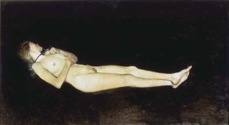 <i>Black Velvet</i>, 1972, Andrew Wyeth, American, 1917 – 2009, dry brush on paper, 21 1/4 x 39 1/4 in. Private Collection