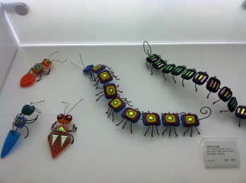 Glass bugs by Newport, Oregon Artist Katie Lareau at SAM Shop at the Seattle Art Museum