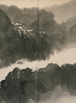Chinese Landscape (detail), ca. 1925, Hirai Baisen, Japanese, 1889-1969, ink on paper, 67 1/4 x 148 1/2 in., Gift of Griffith and Patricia Way, in honor of the 75th Anniversary of the Seattle Art Museum, 2010.41.52.1-2, Photo: Eduardo Calderon. Currently on view in the Asian Art gallery, third floor, SAM downtown.