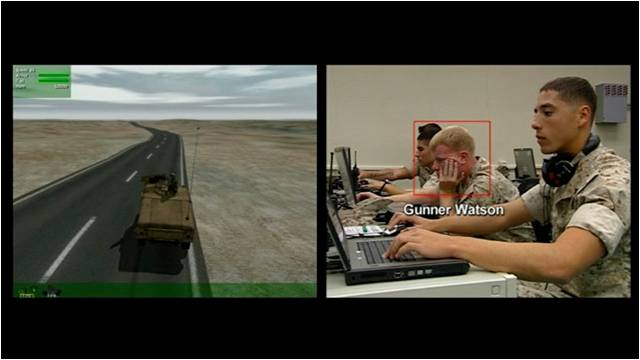 A still of Farocki's Serious Games in which marines complete simulated missions.