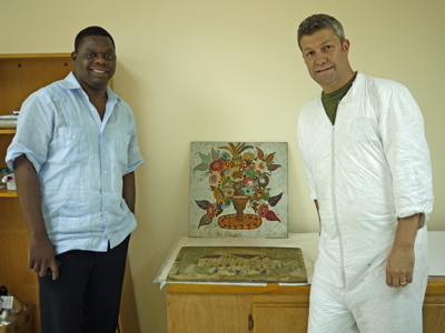 Cultural Recover Center in Port-au-Prince, presents his completed treatment of <i>Pot de Fleurs</i> by Hector Hyppolite.
