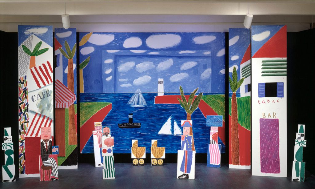 Largescale painted environment with separate elements based on Hockney's design for Les Mamelles de Tiresias