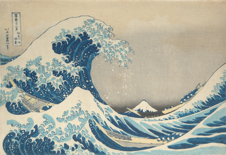 In the Well of the Great Wave off Kanagawa (Kanagawa-oki nami-ura) Series: Fugaku sanjûrokkei (Thirty-six Views of Mt. Fuji), 1830-33, Katsushika Hokusai, Japanese, 1760 – 1849, Polychrome woodblock print on paper, 10 3/16 x 14 15/16in. Promised gift of Mary and Allan Kollar, in honor of the 75th Anniversary of the Seattle Art Museum.