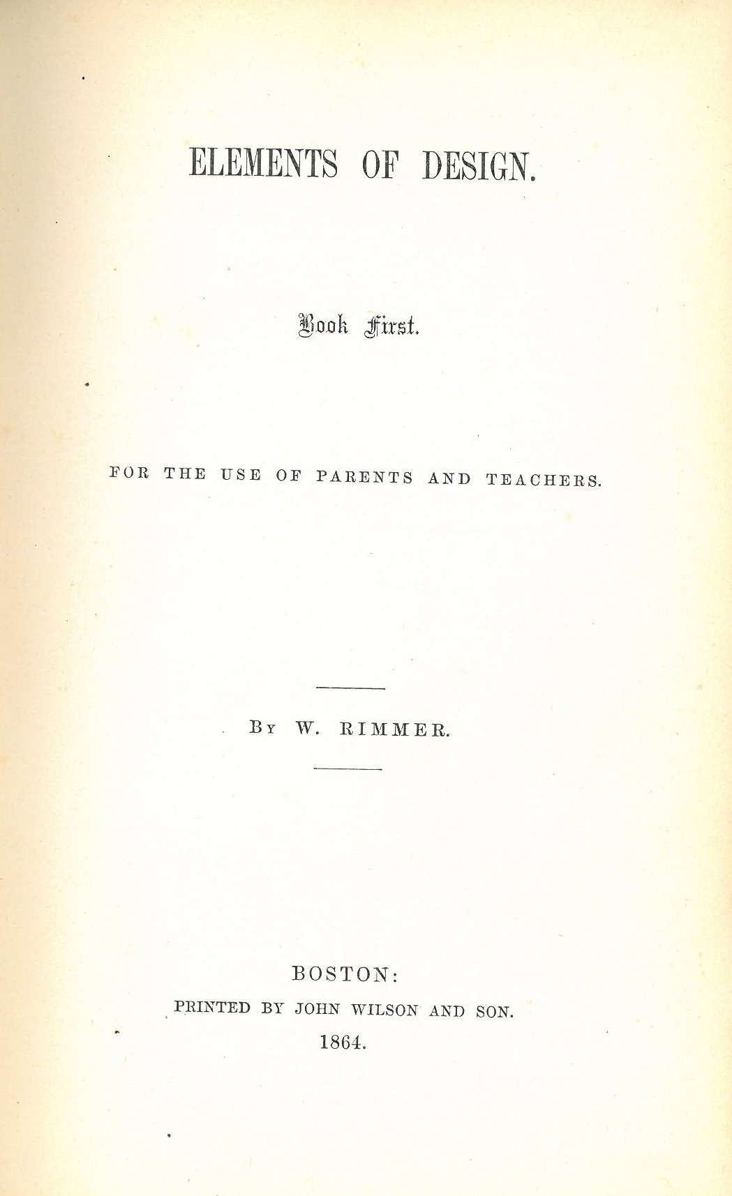 Title page from Elements of Design by William Rimmer (Boston: S.R. Urbino, 1894).