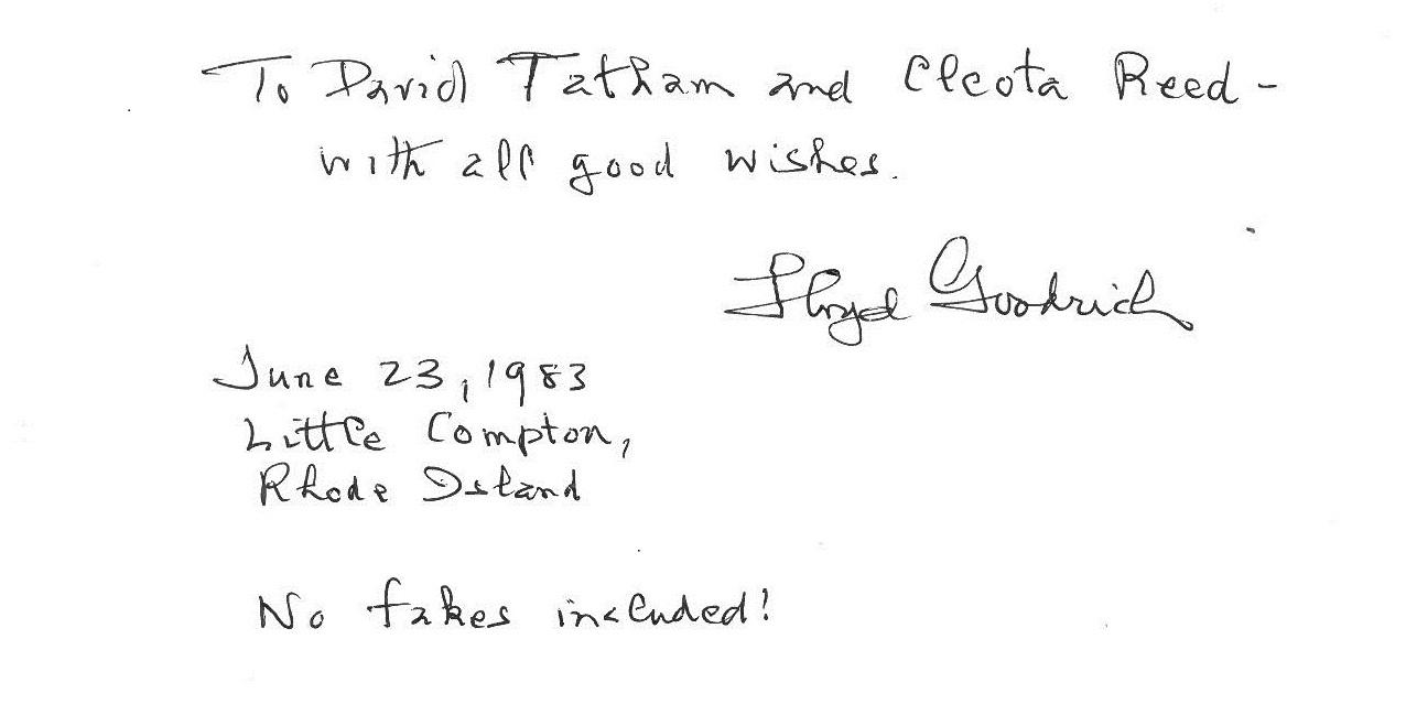Inscription from Lloyd Goodrich to David Tatham