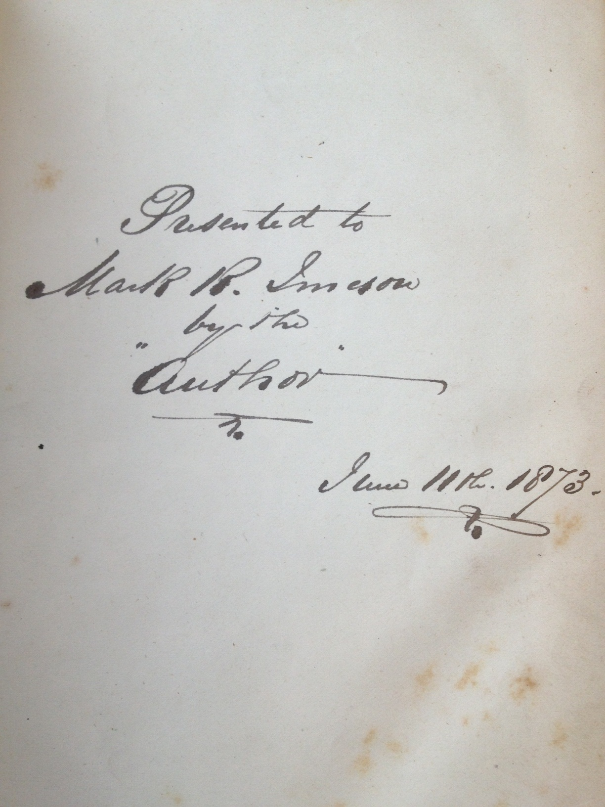Inscription by the author, William Winwood Reade in 1873.