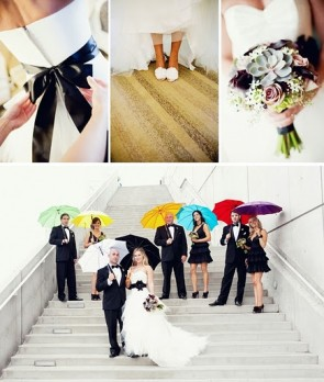 A collage of wedding pictures