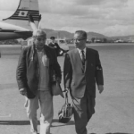 Mr. Koyama, Chief Foreign Affairs Officer, meets Joseph Hillaire at the Airport. Image courtesy of The Seattle Public Library.