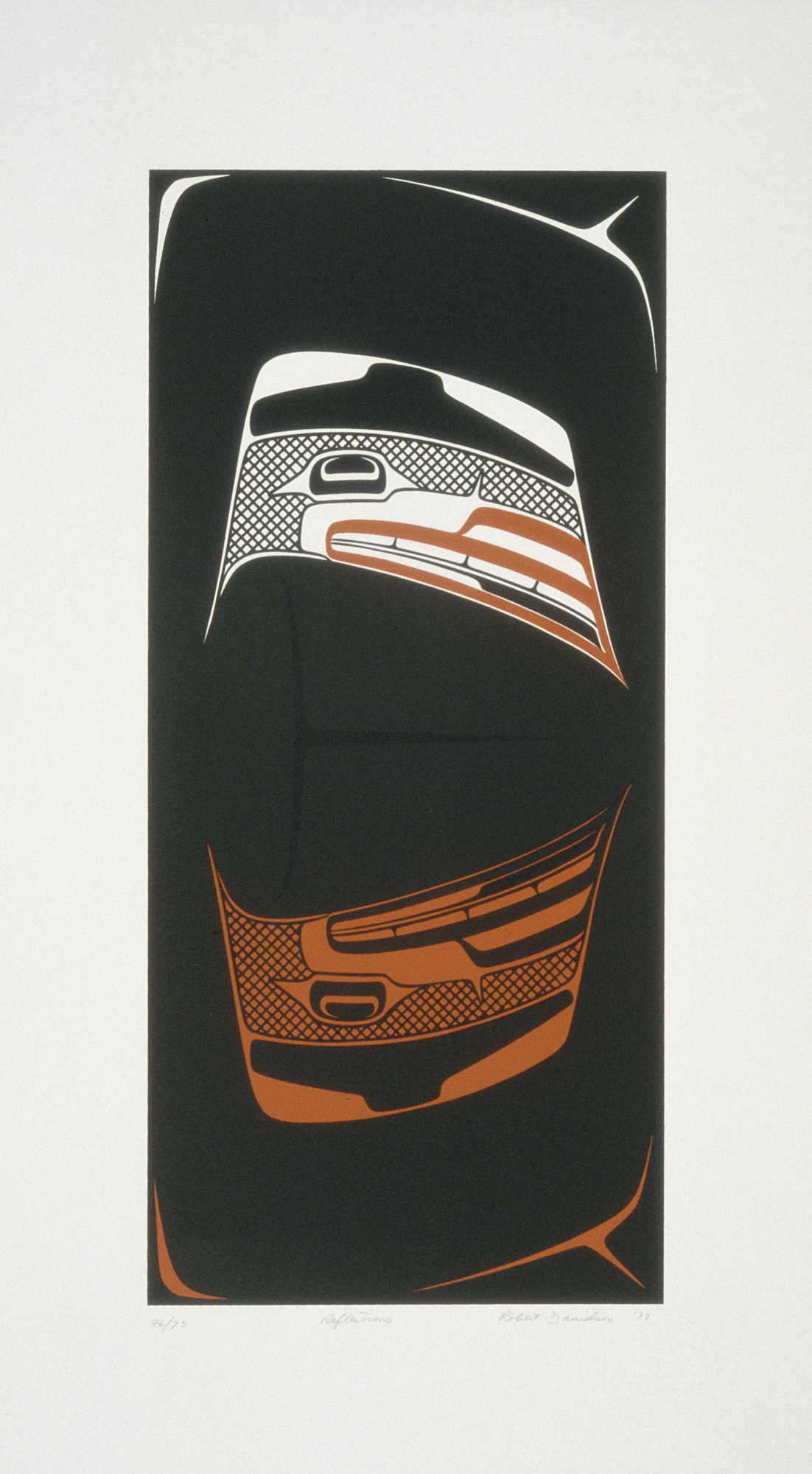 Reflections, 1977, Robert Davidson (Canadian, Haida, born 1946), ink on paper, 16 15/16 x 7 3/4 in., Seattle Art Museum, gift of Marshall and Helen Hatch, 2013.19.2, � Robert Davidson. On view starting Saturday, 16 November, in Robert Davidson: Abstract Impulse, third floor, SAM downtown.