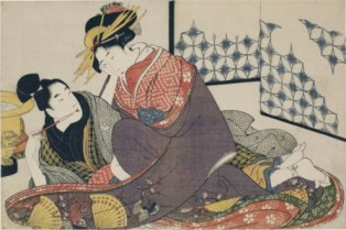 Courtesan seated smoking with an adolescent