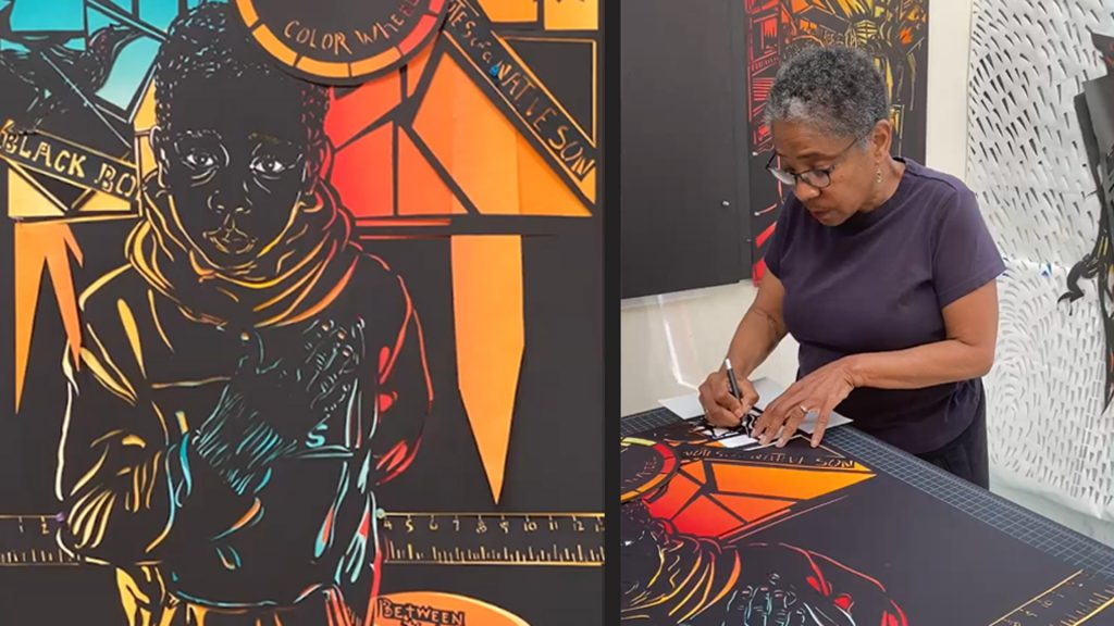Dual image of Barbara Earl Thomas working in her studio, and detail of her cut paper work