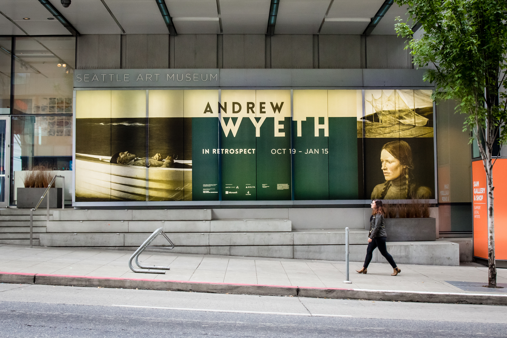 A view of our building exterior advertising Andrew Wyeth: In Retrospect at Seattle Art Museum