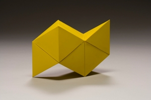 Yellow Bird, 1971, Tony Smith (American, 1912-1980), heavy-weight paper, adhesive, paint, 6 1/4 x 9 x 3 3/4in., The Dorothy and Herbert Vogel Collection: Fifty Works for Fifty States, a joint initiative of the Trustees of the Dorothy and Herbert Vogel Collection and the National Gallery of Art, with generous support from the National Endowment for the Arts and the Institute for Museum and Library Services, 2008.29.33, Photo: Courtesy National Gallery of Art, Washington, © Tony Smith Estate. Currently on view in the Modern and Contemporary Art galleries, third floor, SAM downtown.
