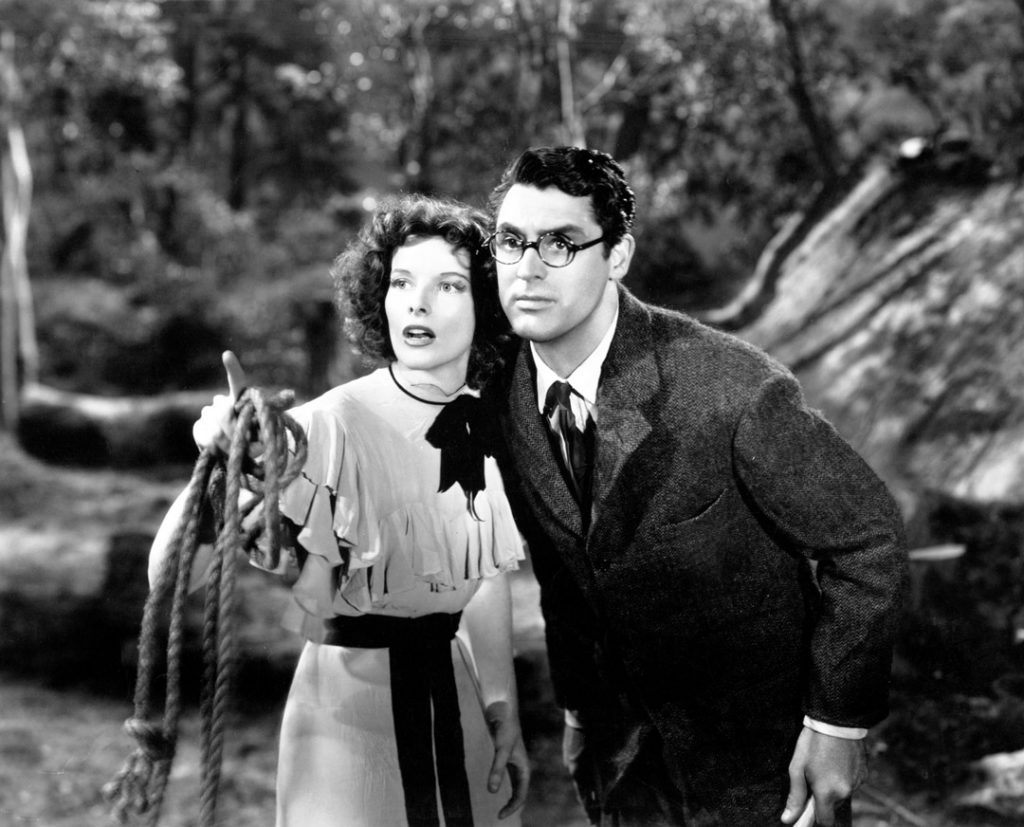 Bringing Up Baby (1938) Directed by Howard Hawks Shown: Katharine Hepburn (as Susan Vance) , Cary Grant (as Dr. David Huxley)