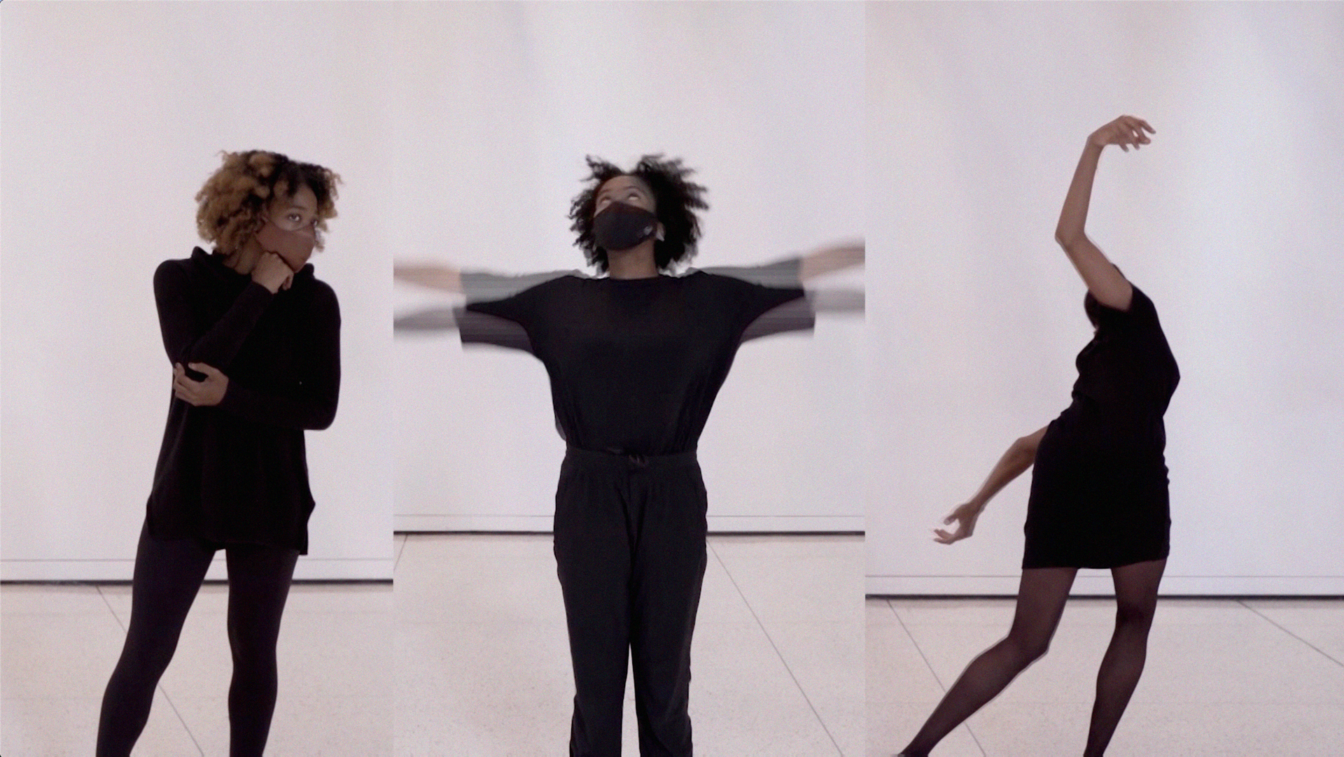 Still of three dancers making three different shapes with their bodies