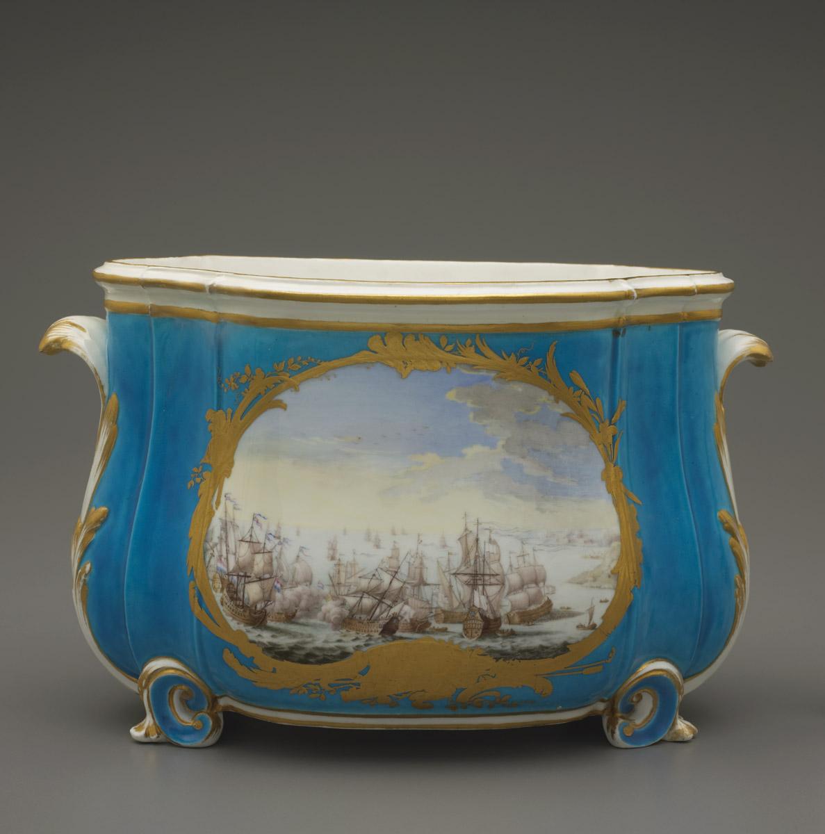 French, Vincennes, decorated by Louis-Denis Armand l'aîné (active 1745-83), Flower vase (cuvette), 1755-56, 7 3/4 x 12 1/4 in., The Guendolen Carkeek Plestcheeff Endowment for the Decorative Arts, 99.8