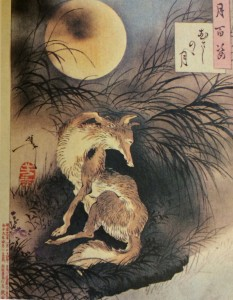 Musashi Nono Tsuki, from the series 月百姿 Moon Hundred Gesture by Tsukioka Yoshitoshi (Volume 9) Yoshitoshi brough one wolf to the vast field of Mushashino.  The wolf sees his reflection on the surface of water.  Yoshita expresses the loneliness of the wolf.