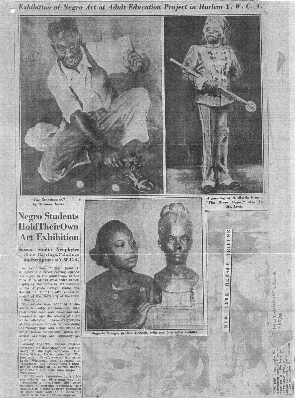 "Newspaper clipping featuring ""Gwendolyn Knight"" by Augusta Savage"