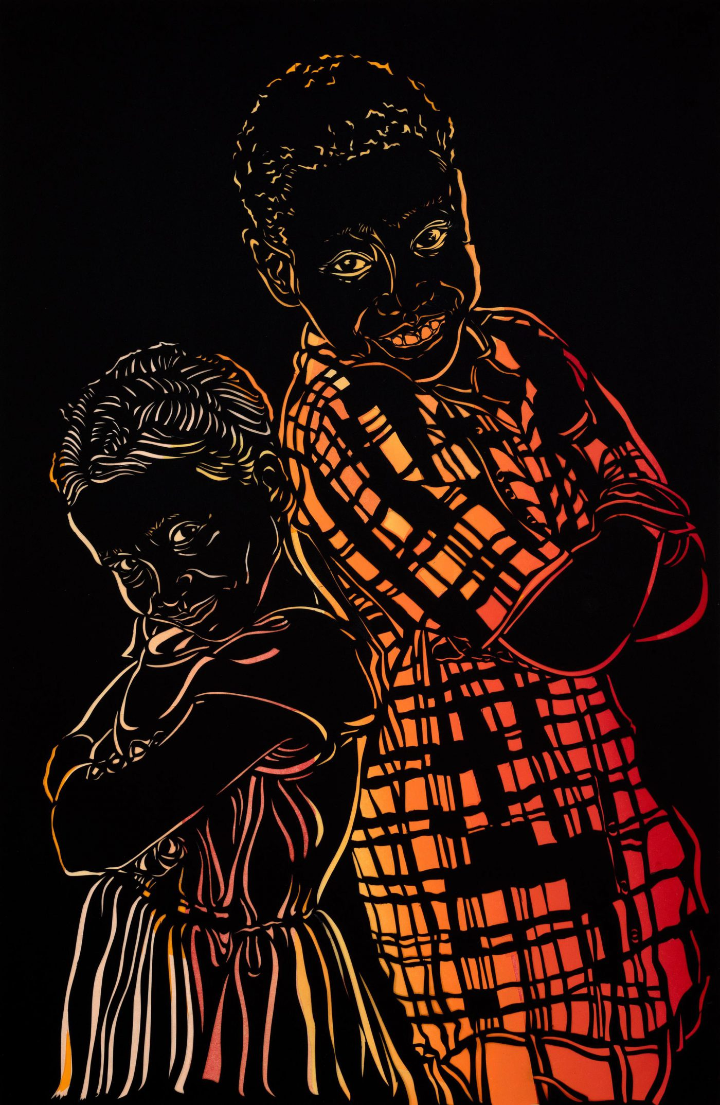 Image of artwork featuring two young children smiling back to back rendered in a gradient of yellow, orange, and red, on a black background