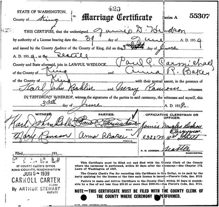 Marriage certificate for Anna Richards Baker and Paul C. Carmichael