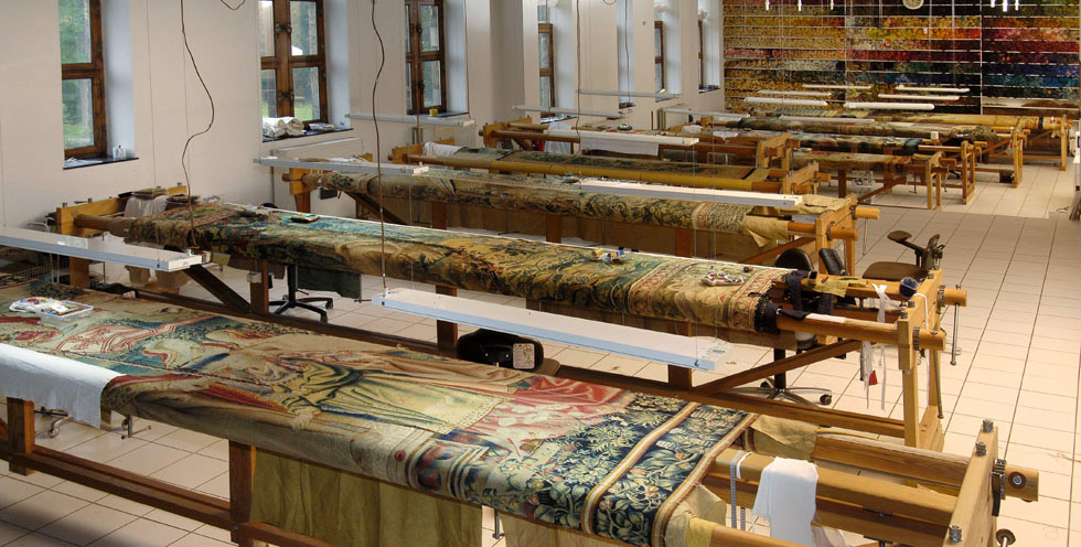 Large looms held the tapestries during repairs