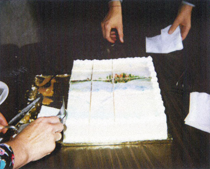 It's a cake with a painting on it!