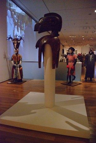 Headress (D'mba), wood, raffia, Guinean, Baga, 51 1/2 x 18 1/8 x 26 1/8 in. Gift of Katherine White and the Boeing Company, 81.17.180. Photo: Natasha Lewandrowski
